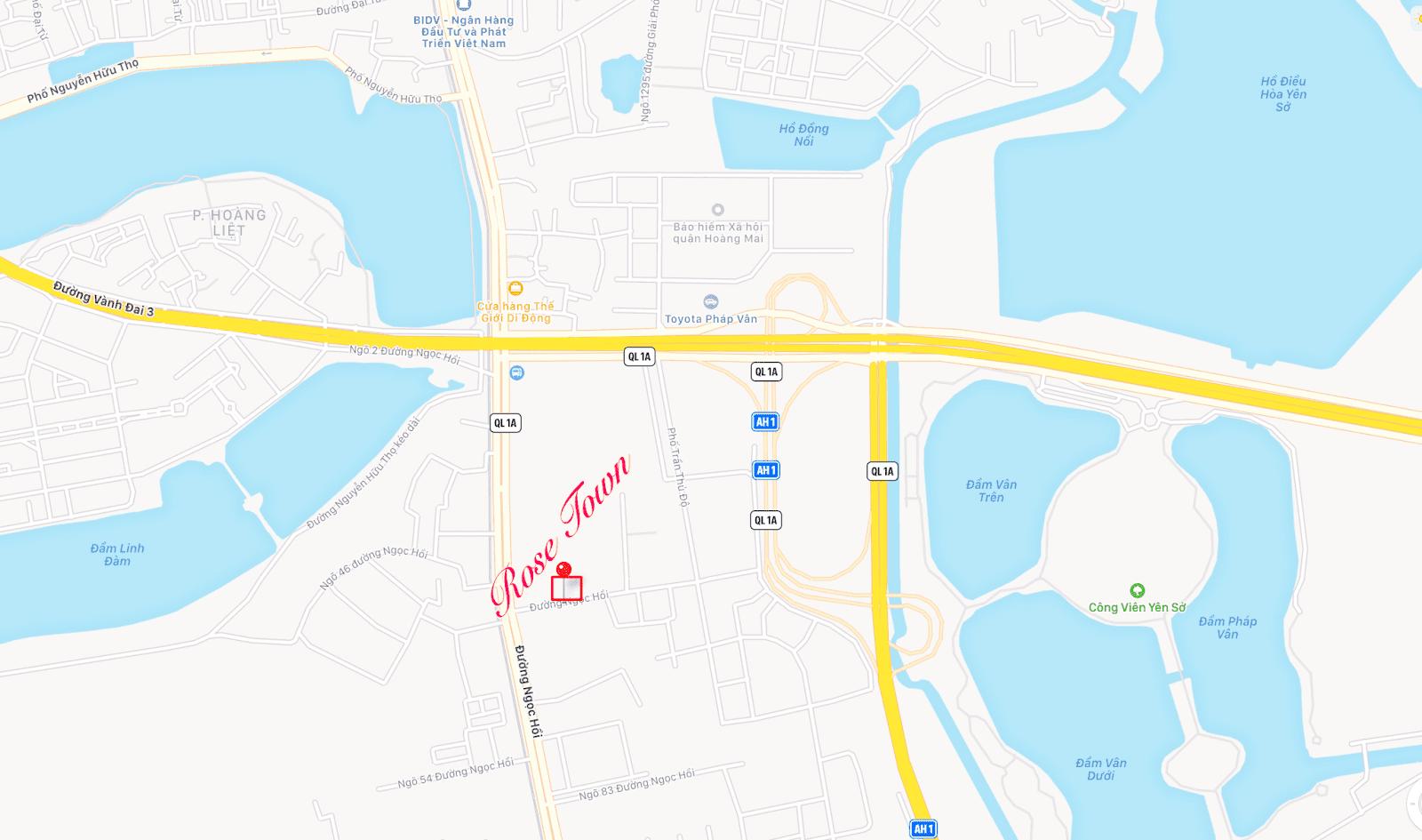 Vị trí đắc địa của chung cư Rose Town
