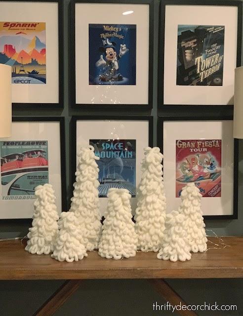 White fluffy yarn trees