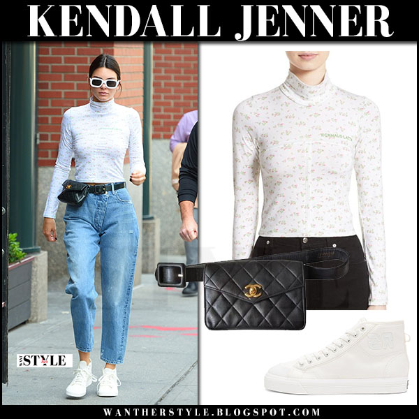 Kendall Jenner in white turtleneck top eckhaus latta, high rise jeans and white sneakers adidas what she wore may 31 2017