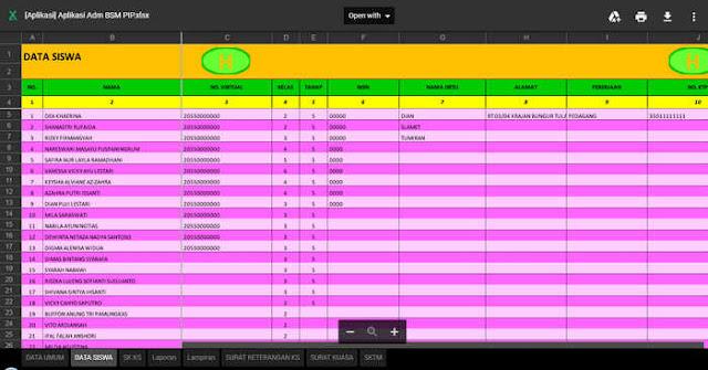 Aplikasi Pembuat Kelengkapan Administrasi BSM PIP Format excel