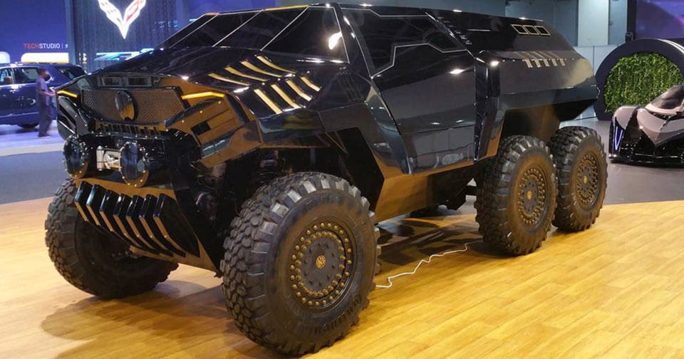 devel has created an insane six wheeled concept to rival merc 39 s 6x6. Black Bedroom Furniture Sets. Home Design Ideas