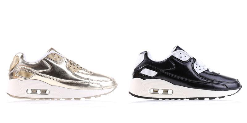 Pantofi sport dama aurii, negri ieftini cu perne de aer la moda