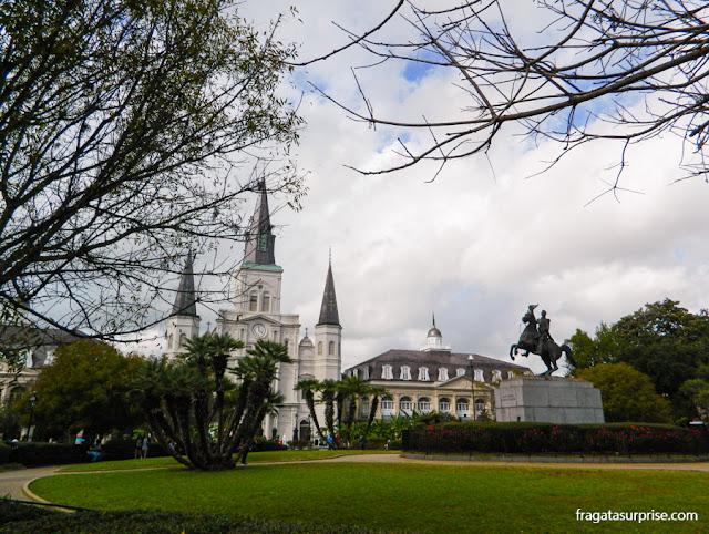 Jackson Square, coração do Bairro Francês de Nova Orleans