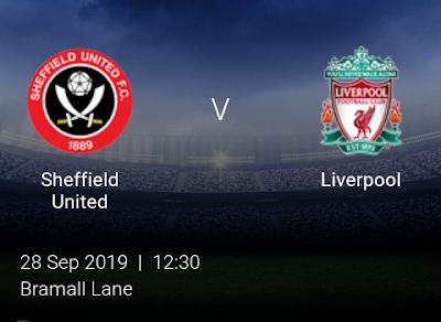 LIVE MATCH: Sheffield United Vs Liverpool Premier League  28/09/2019