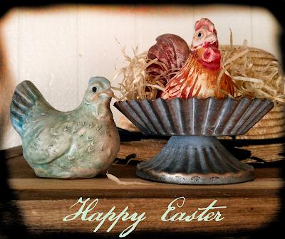 chalkware chickens hen rooster vintage