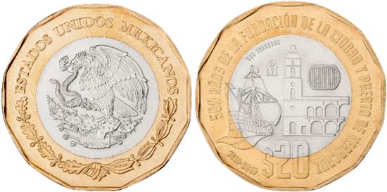 Mexico 20 pesos 2019 - 500th Anniversary of Veracruz