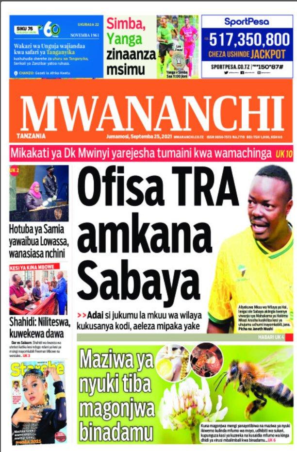 Habari kubwa za Magazeti ya Tanzania leo Septemba 25, 2021
