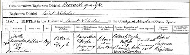 U.K. GRO Death Certificate for William Doyle, born 1860, parents Patrick and Mary Ann (Quin) Doyle