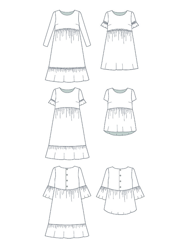 Indigo smock top and dress add-on sewing pattern - Tilly and the Buttons