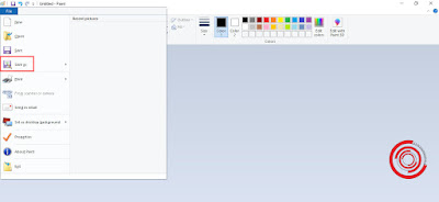 1. Jika sudah di aplikasi Paint dan ingin menyimpan silakan kalian klik menu File dan pilih Save As