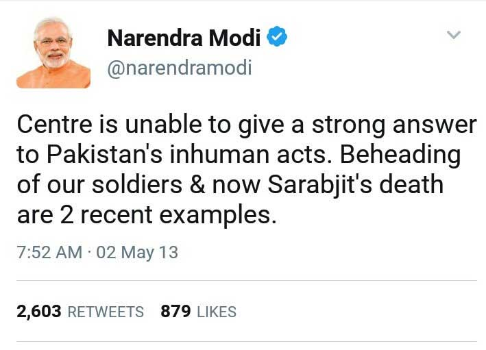 Centre is unable to give a strong answer to Pakistan's inhuman acts. Beheading of our soldiers & now Sarabjit's death are 2 recent examples.