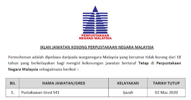 jawatan kosong kerajaan 2020 perpustakaan negara malaysia