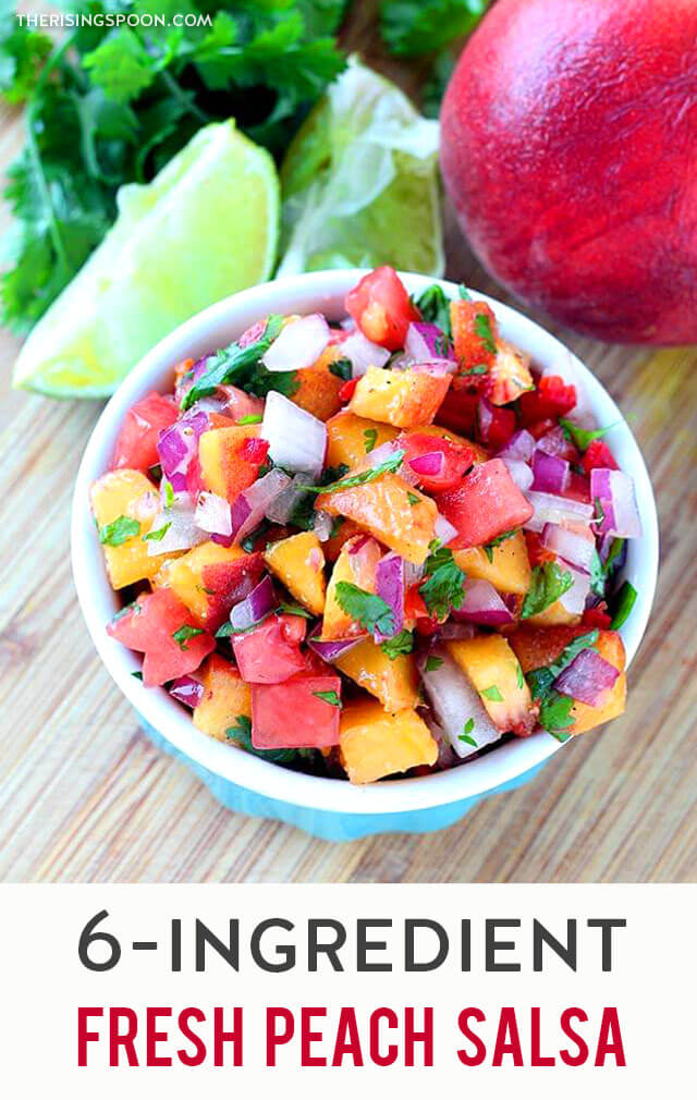 A quick & easy recipe for the best homemade fresh peach salsa using simple summer ingredients like ripe peaches, red onion, tomato, cilantro, lime, and jalapeno. Use this no-cook fruit salsa as a topping for fish (like mahi-mahi, salmon, shrimp, cod, or tilapia), pork (chops, tenderloin, or carnitas), or grilled chicken, as a dip with your favorite chips, or as a sweet & spicy condiment for any of your favorite foods. {gluten-free, paleo, whole30 & vegan}