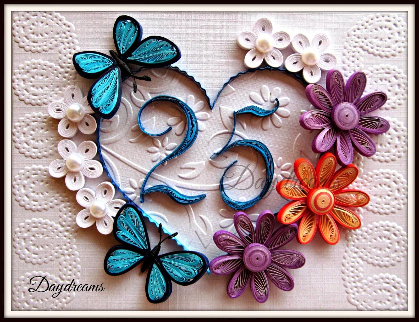 daydreams twenty fifth wedding anniversary quilled card
