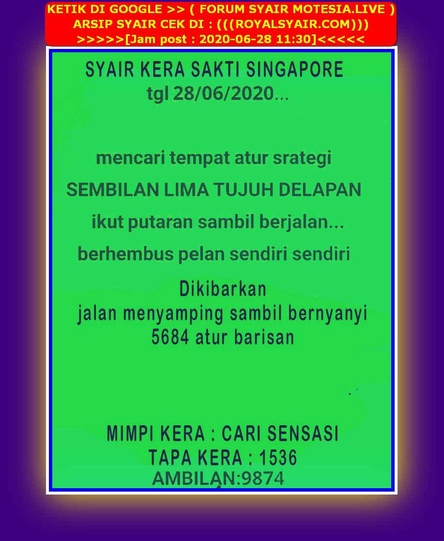 Kode syair Singapore Minggu 28 Juni 2020 36