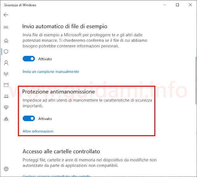 Schermata Sicurezza di Windows Defender impostazione Protezione antimanomissione