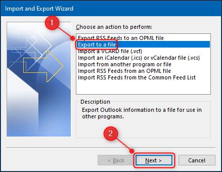 """خيار """"تصدير إلى ملف"""" في Outlook."""