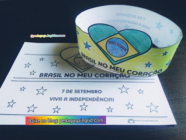 Lembrancinha Coroa Brasil no Meu Coração para celebrar o dia da independência do Brasil em 7 de Setembro em PDF para imprimir gratuitamente.