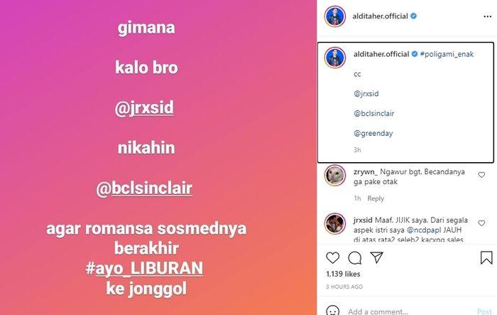 Unggahan Aldi Taher yang menjodohkan BCL dan Jerinx untuk menikah saja. Instagram @alditaher.official