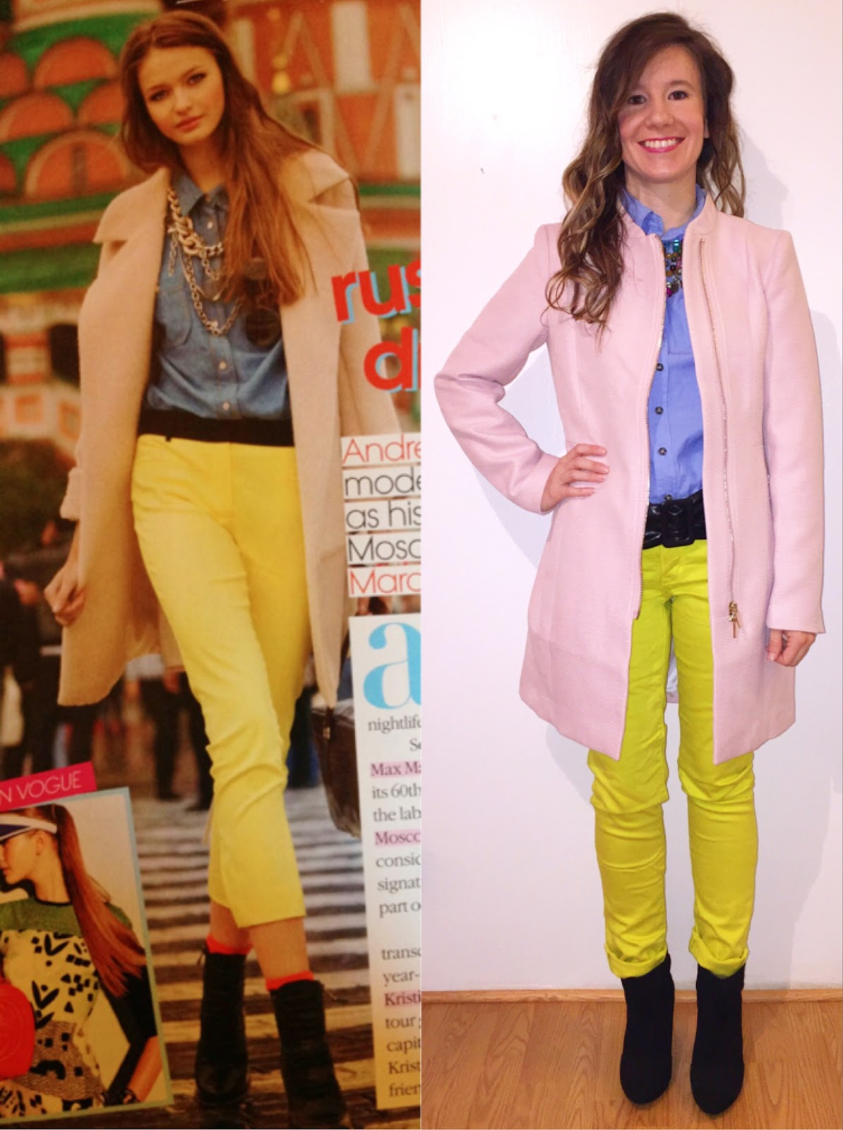 H&M Blush Pink Coat Express Yellow Jeans Forever 21 Chambray Button Up JCPenney Necklace Target Ankle Boots