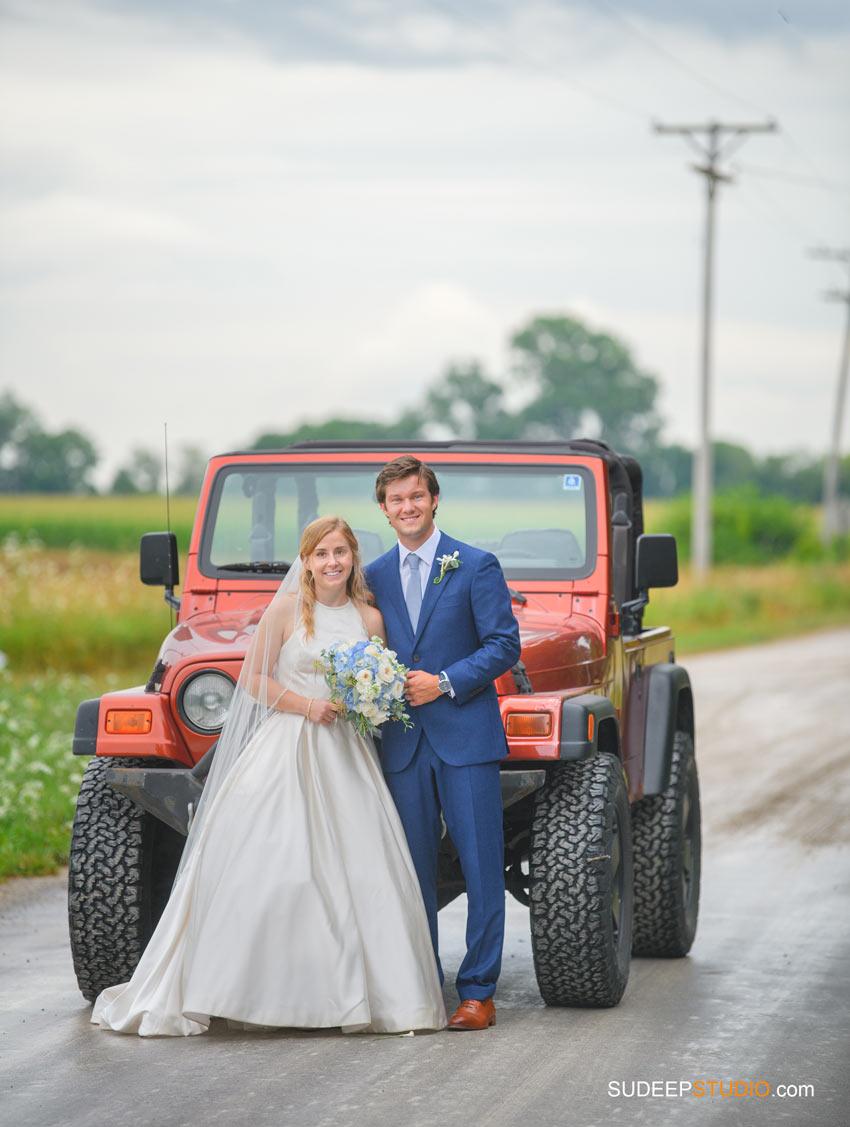Rustic Farm Wedding Photography in Saline Dexter Dusty Muddy Road Jeep Barns by SudeepStudio.com Ann Arbor Wedding Photographer