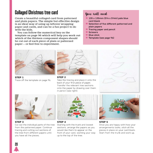 Text and photo instructions for making a collaged Christmas tree card