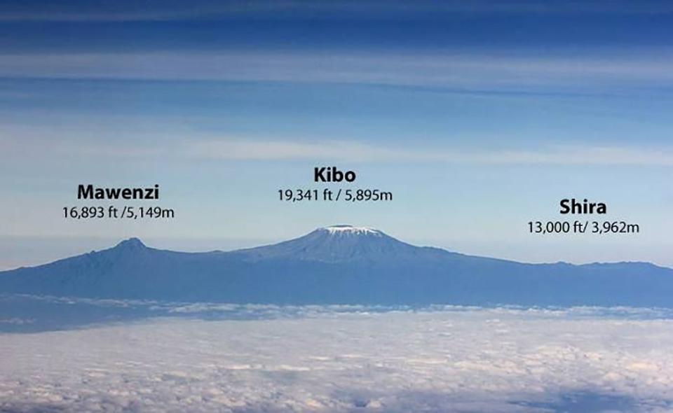 Гора Килиманджаро - это вулкан с тремя конусами