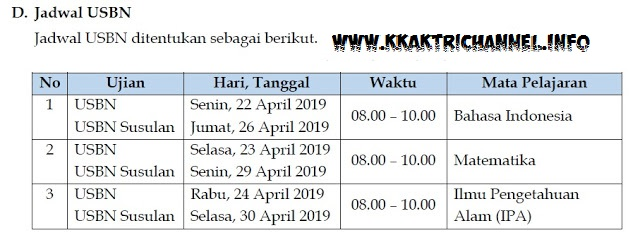 Jadwal UN USBN SD tahun 2019