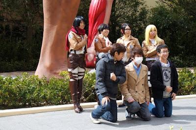 Picture taking at Attack on Titan Universal Studios Japan Osaka