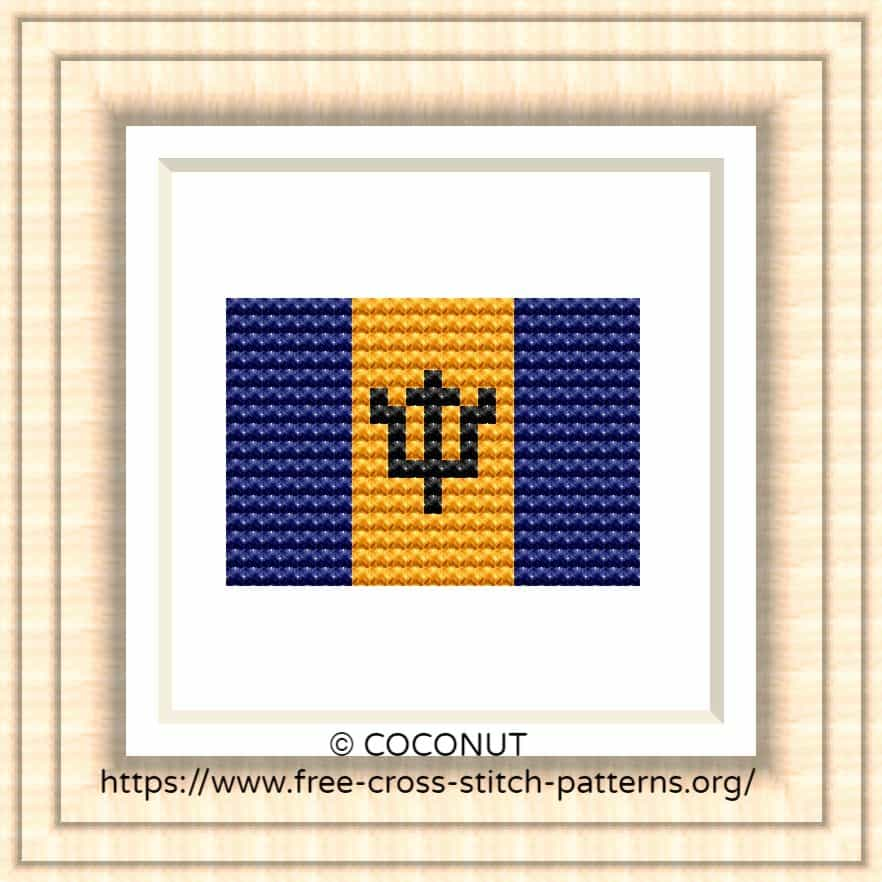 NATIONAL FLAG OF BARBADOS CROSS STITCH CHART