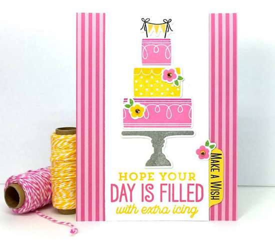 Big Birthday Sentiments stamp set and Lisa Johnson Designs Celebrate with Cake stamp set and Die-namics - Lynn Put #mftstamps