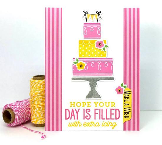 Big Birthday Sentiments stamp set and Lisa Johnson Designs Celebrate with Cake stamp set and Die-namics - Lynn Put #mftstamps
