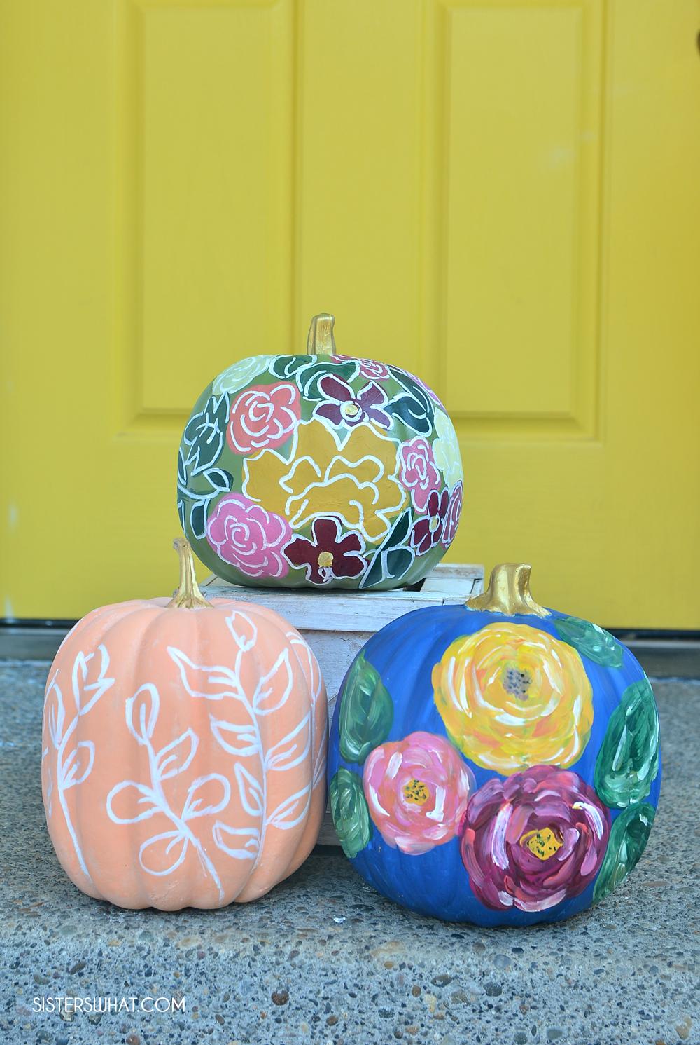 diy flower painted pumpkins