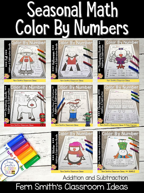 You can click on the picture or the caption below it to arrive at my TpT store already sorted for the grade level items you want for your class. Seasonal Color By Numbers for Addition and Subtraction for your First Grade, Second Grade and Third Grade Students. #FernSmithsClassroomIdeas