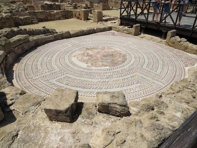 Cyprus Road Trip Itinerary: circular mosaic at Paphos Archaeological Park