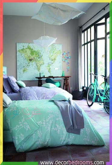 اللون الرمادي مع اللون تركواز داخل غرف النوم