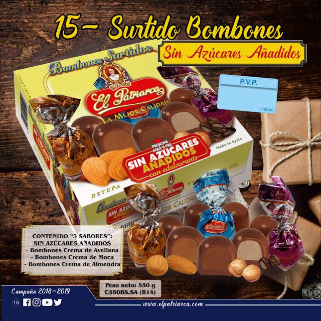 Bombones sin azúcares añadidos El Patriarca 550 g - Comercial H. Martín sa