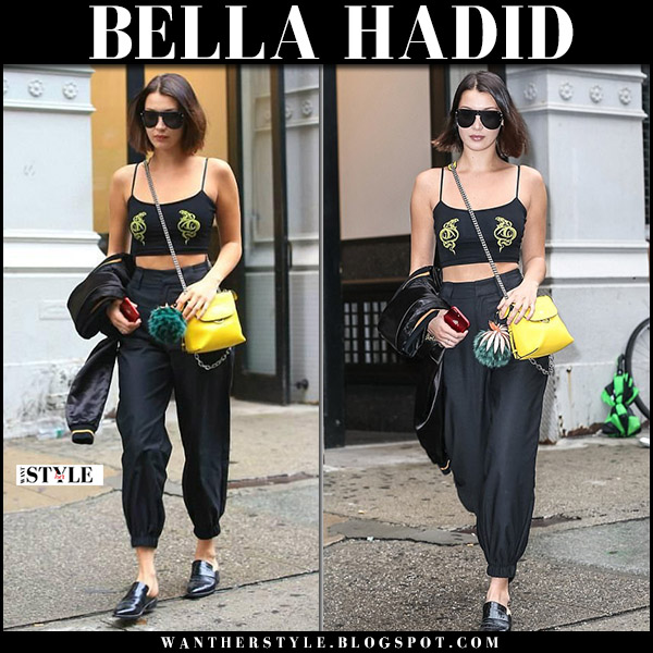 Bella Hadid in black crop top, black cargo pants i.am.gia  and black mules freda salvador september 6 2017
