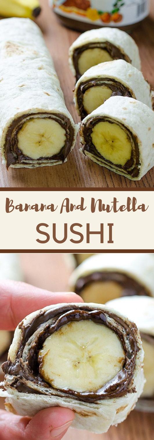 Banana and Nutella Sushi #banana #desserts #cakes #pumpkin #sushi