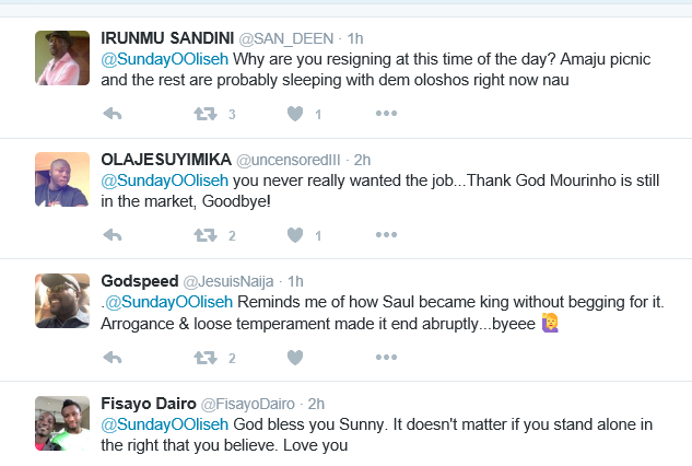 Super Eagles coach Sunday Oliseh reigns on twitter