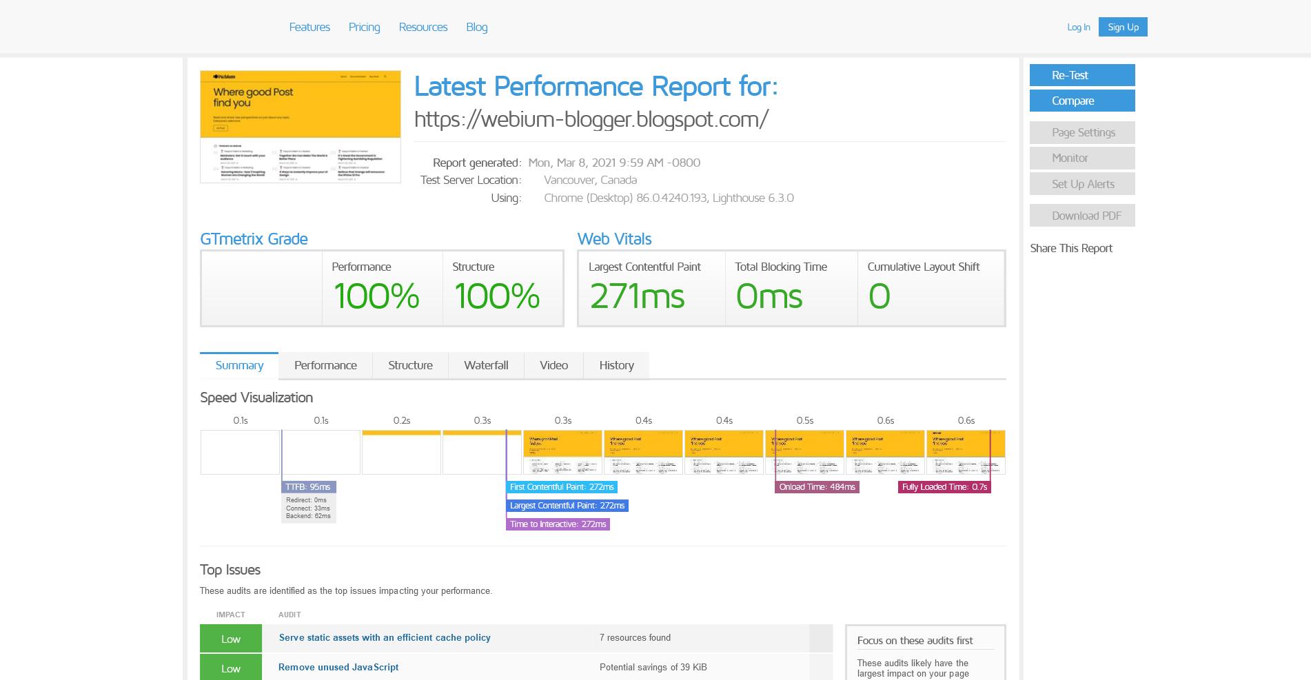 Score GTMetrix untuk halaman utama (Homepage)
