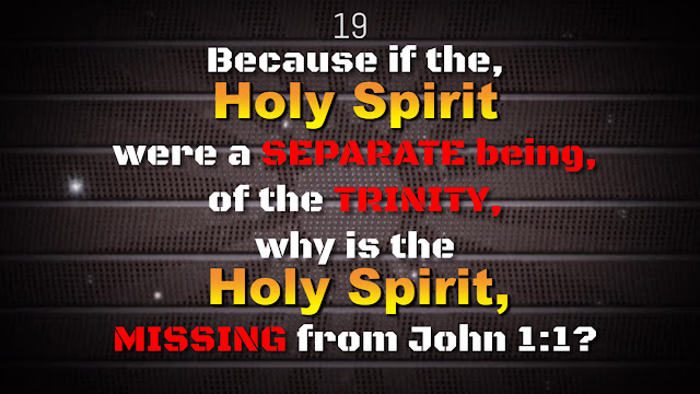 In the beginning was the word, and the word was with THE GOD. As there are TWO separate beings together, SIDE by SIDE; the word is with (THE GOD), where is the THIRD person of the Holy Spirit, who is said to be SEPARATE and EQUAL?