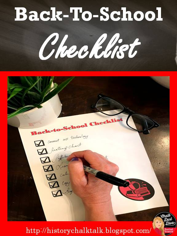 History Chalk Talk: Back-To-School Checklist