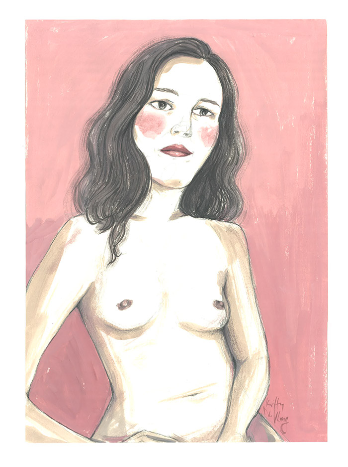 Kitty N. Wong /  Pink Lady Gouache Painting