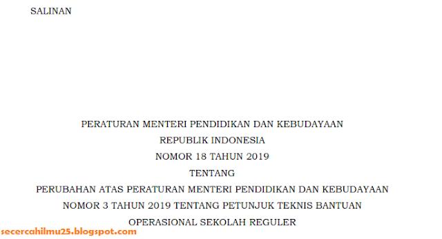 Permendikbud Nomor 18 Tahun 2019 tentang Perubahan JUKNIS Bantuan Operasional Sekolah Reguler