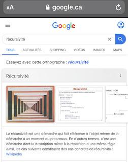 L'Oeuf de Pâques de Google :  récursivité