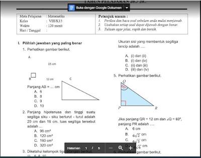PAT Matematika Kelas 8 Kurikulum 2013