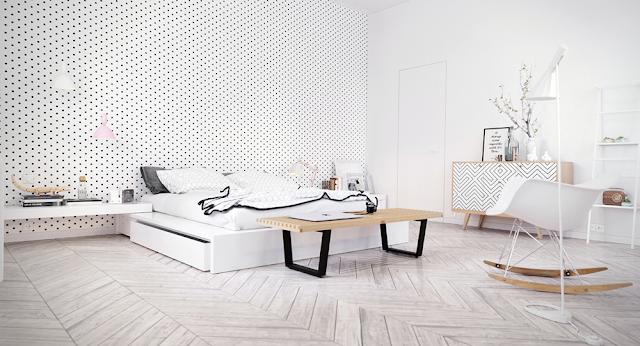 Mẫu thiết kế phòng ngủ Bắc Âu với tông màu trắng