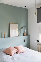 Accent wall for bedroom with sage green paint color