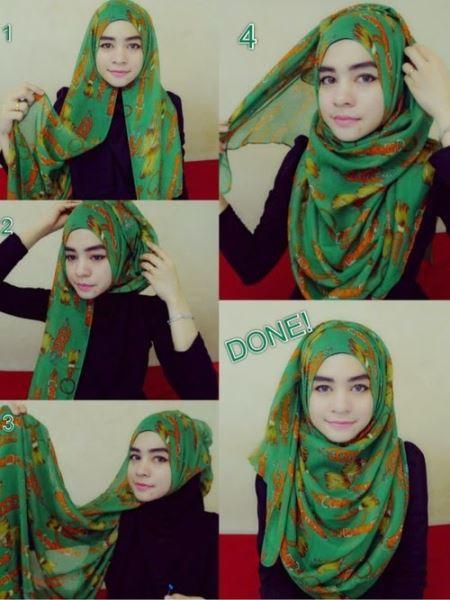 Cara mudah memakai jilbab pesta model pashmina yang sederhana